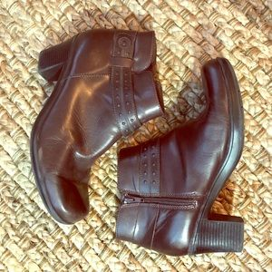 Clarks dark brown leather ankle boots